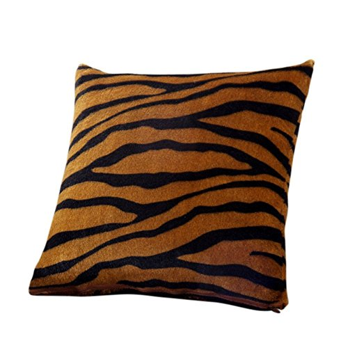 LALANG Animal Zebra Leopard Print Pillow Case Fluffy Sofa Waist Throw Cushion Cover Home Decor (tiger)