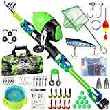 ZHENDUO OUTDOOR Kids Fishing Pole,Telescopic Fishing Rod and Reel Combo Kit with Fishing Tackles,Fishing Net,Fishing Folding Bucket, 3.9ft/4.9ft Portable Fishing Rod Set for Boys, Girls, Youth (4.9)