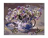 MEEKIS Hauptdekoration Für Erwachsene Kinderteekanne Mit Blumen-Geschenk DIY Farbe Durch Zahlen 40X50CM-No Frame