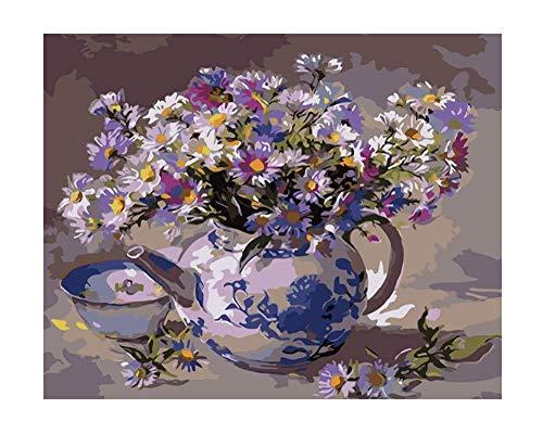 MEEKIS Malen Sie Nach Zahlen Für Erwachsene DIY Teekanne Mit Blumen Mit Bürsten Home Decoration 40x50cm-With Frame