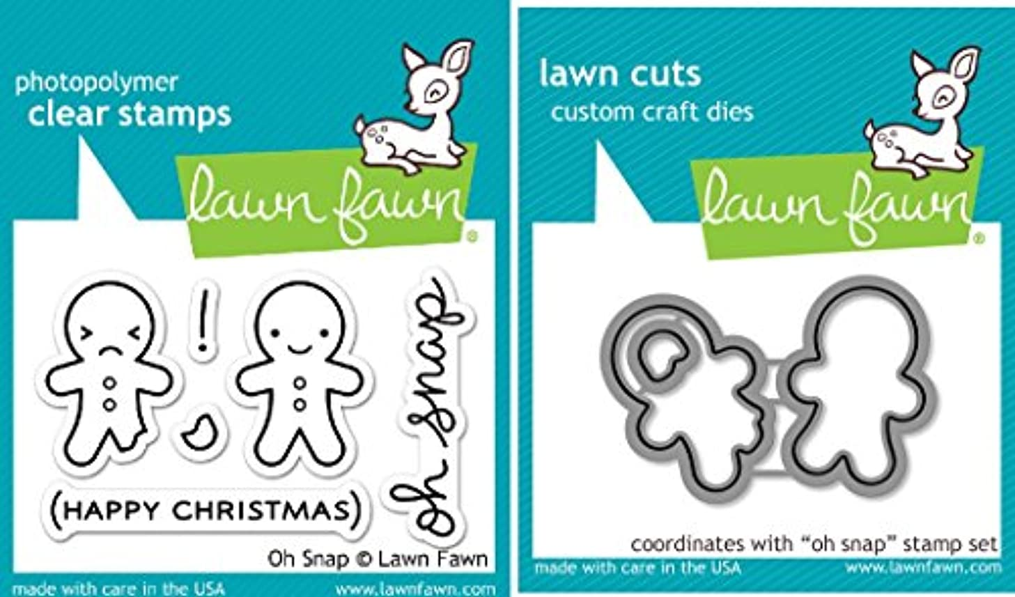 Lawn Fawn Oh Snap Clear Stamp and Die Set - Includes One Each of LF983 (Stamp) & LF984 (Die) - Bundle Of 2