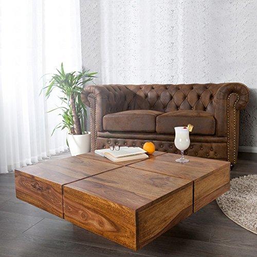 CAGÜ - COUCHTISCH [Salem] aus SHEESHAM MASSIV Holz GEWACHST 80cm x 80cm, NEU!