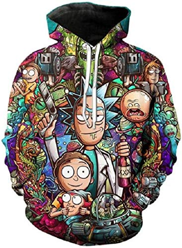 Chaos World Men's Hoodie Cartoon Character 3D Print Graphic Hooded Sweatshirts Casual Pullover(Cartoon Character,M)