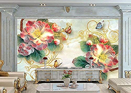 Pegatinas 3D de lujo en joyas de oro Phalaenopsis Tv Background Wall-...