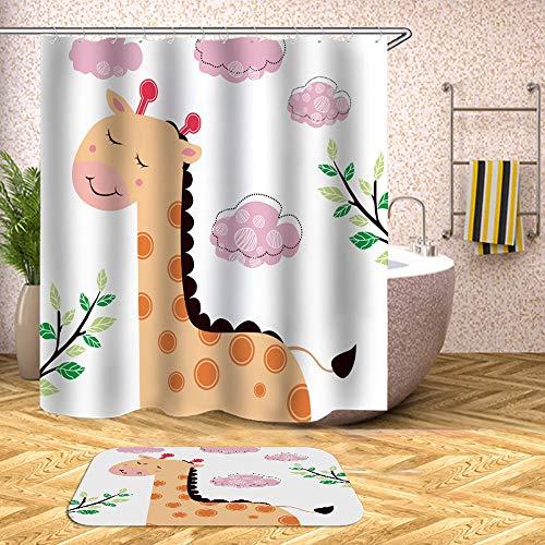 Fansu Cortina de Ducha Antimoho Impermeable Antibacteriano, 3D Niño Impresión Diseño Transparente Cortina de Baño/Ducha/Bañera 100% Poliéster con 12 Anillos (180x200cm,Jirafa)