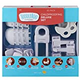 Toddleroo by North States Childproofing Deluxe Kit | 4 Door knob Covers, 34 Plug Protectors, 18 latches, 1 Pinch Protector, 4 Gel Corners, 4 Cabinet Locks | Baby proofing Set (65 Piece Set, White)