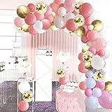 SKYIOL Luftballons Girlande Rosa Gold Weiß 100 Stück Helium Latex Ballons Deko Set mit 5m Ballonbogen Aufkleber für Frauen Mädchen Geburtstag Hochzeit Baby Shower Taufe Jubiläum Valentinstag Party