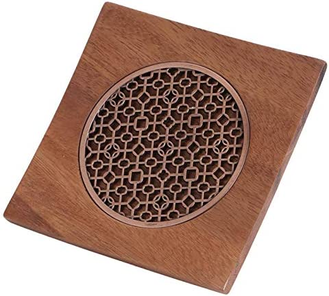 Vintage Square Walnut Wood And Metal Teapot Mat Lightweight Hollow Out Teapot Coaster for The product image