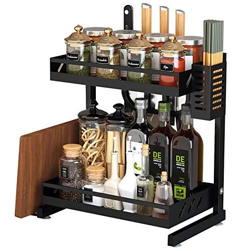 Keukenrekje Desktop Eenvoudige Zwarte Spice Rack, Double Metal kruidenrek keuken op Tafelgerei Storage Rack