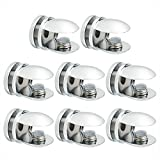 wooden and glass shelves - SAYAYO Adjustable Glass Shelf Bracket, 8 PCS Metal Glass Clip Clamp Wall Shelf Clamp Support for 5-10mm Thickness Wooden/Glass Shelf, Polished Finish