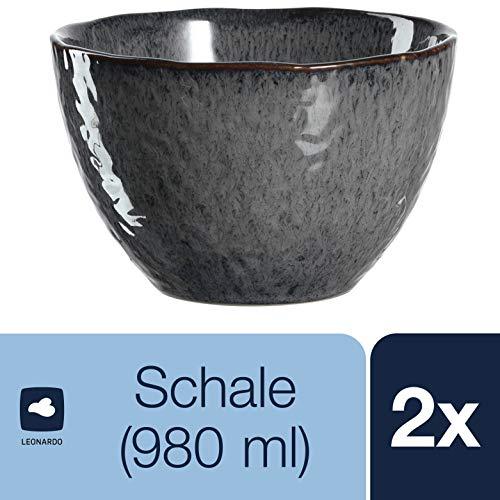 Leonardo Schale Matera 2-er Set, 15,3 cm, 2 Keramik Schalen, spülmaschinengeeignet, mit Glasur anthrazit, 026999