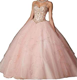 Women's Quinceanera Prom Dresses Beaded Sweet 16 Ball Gown 2 Piece 2019 with Sleeves D203