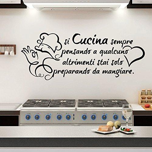 Wall sticker Frase Si Cucina sempre pensando a qualcuno... Adesivi Murali Aforismi Decoro Pareti Cucina   Gigio Store