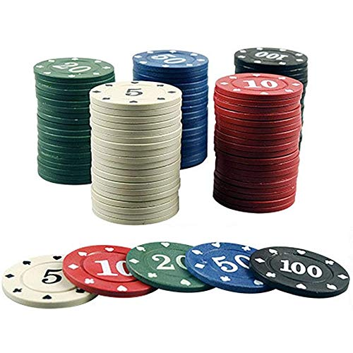 Pokerchips Set Poker 100 STÜCKE Poker Chips Transparent Kunststoff Boxed Mit Digital Chips Entertainment Spiel Tokens Bingo Chips,Natural