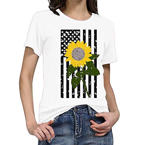 WOBANG Camiseta de verano para mujer, cuello en V, estampado de árboles, manga corta, informal, cuello...