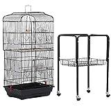 Yaheetech Cage Oiseaux Volière Portable Design pour Perruche Perroquet Canari Inséparable Mandarins 46 x 35.3 x 92 cm avec Support