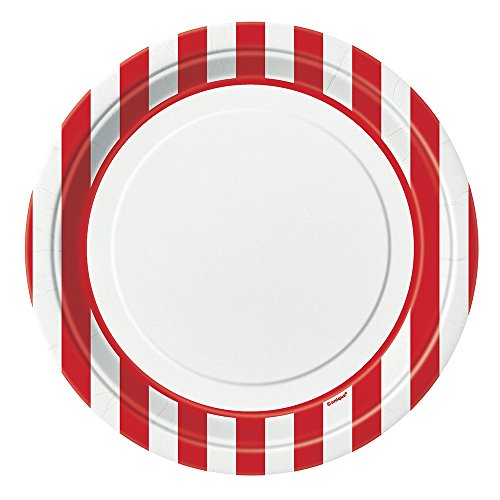 Unique Party 38005 - 21.9 cm Red Striped Party Plates, Pack of 8