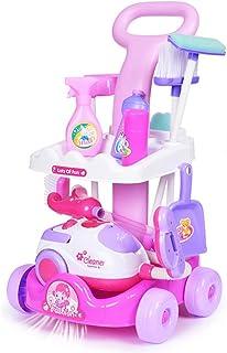 子供用トロリー玩具 模擬掃除機 男の子と女の子が家の玩具 台所用の小さな家電製品のおもちゃセット 3-7歳のスクーターのおもちゃ (Color : Pink, Size : 29*27*51cm)