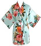 Peony Floral Silk Kimono Robe Bride Bridal Bridesmaid Robes Dressing Gown Housecoat Bathrobe for Women