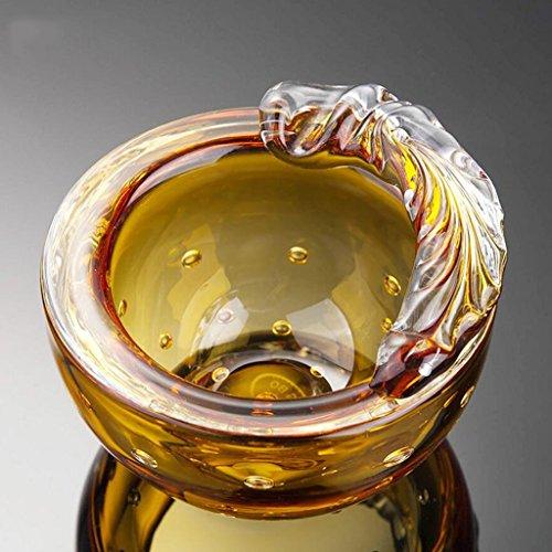 cendrier Golden Salon Personnalité Cristal Verre créatif Mode Décoration intérieure Cadeau Souffle Artificiel Cristal Clair Belle Forme Diamètre 12cm Haute 7.5cm UOMUN