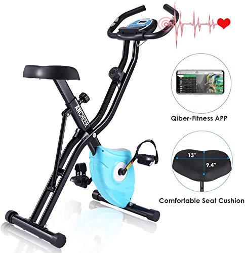 Ancheer Bicicleta Estática Plegable Bicicleta de Ejercicio 10 Niveles de Resistencia Magnética, con App, Soporte para Tableta Capacidad de Peso:120kg (Negro (con Respaldo))