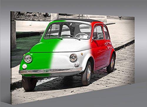 Cadre moderne Fiat 500 Impression sur toile – cadre x fauteuils salon cuisine meubles bureau maison – Photo Format XXL carreaux