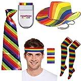 Juego de 5 calcetines con diseño de cowboy y brocas, con diseño de gorro, multicolor Sombrero+corbata+calcetines+diadema+cepillo Talla única