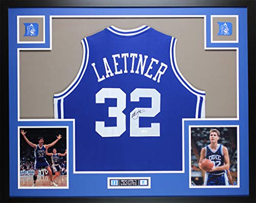 Christian Laettner Autographed Blue Duke Blue Devils Jersey - Beautifully Matted and Framed - Hand Signed By Christian Laettner and Certified Authentic by JSA - Includes Certificate of Authenticity