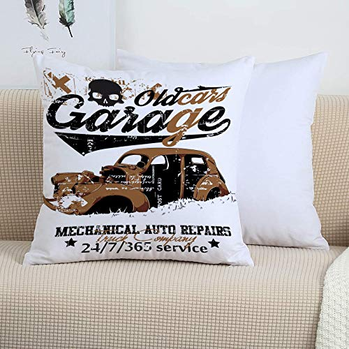Decorative Soft Polyester Cushion,Cars,Old Garage Mechanical Auto Repairs Truck Company Skull Grunge Displ,Covers 45cm x 45cm/Square Throw Pillowcases for Sofa Bedroom with Invisible Zipper 18x18 Inch