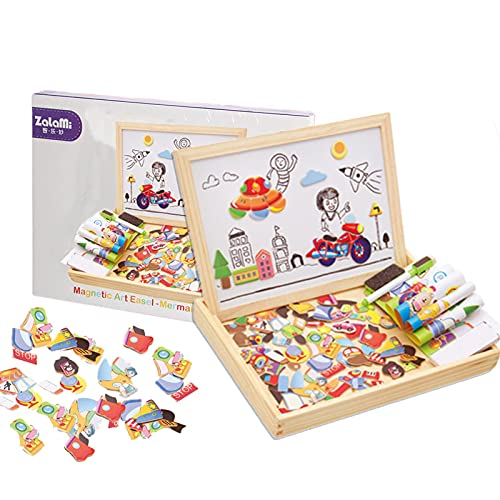 AMYCOOL パズル お絵かきボード 磁気パズル 木製パズル 玩具 木のおもちゃ 積み木 黒板 交通のジグソーパズル 教育おもちゃ 認識力 創造力 子供 男の子 女の子 子ども 教材 誕生日 クリスマス プレゼント 贈り物 収納ボックス付き6歳