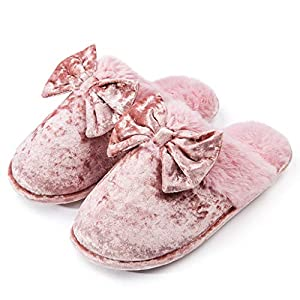 DL Womens-House-Slippers-Memory-Foam, Fluffy Velvet Slip on Scuff Slippers for Women Indoor, Warm Furry Ladies Bedroom Slippers with Non Slip Outsole Pink Gray pink Size: 7-8