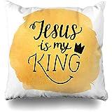 Fundas de almohada Biblia Acuarela Creer Letras de la mano Jesús Mi Rey Gráficos Corona Bíblico Cristo Cristiano Decoración del hogar Funda de almohada 45X45Cm Decoración Funda de almohada
