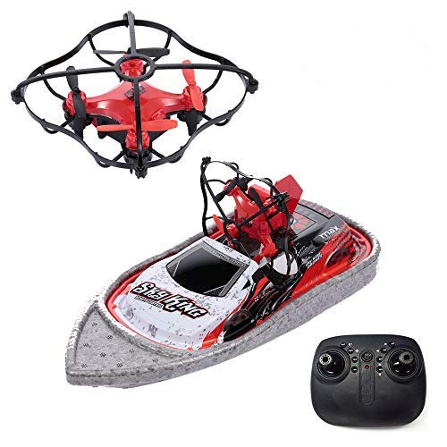 Goolsky- 3 en 1 Barco Drone Car Sea Air Modo Terrestre Modo 3 Altitud Mantener sin Cabeza Modo RC Barco Quadcopter Drone RTF