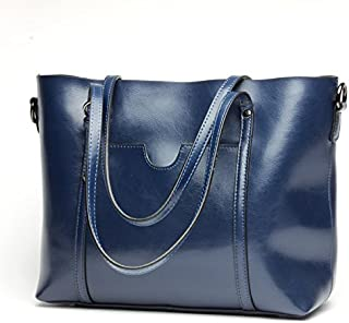 Leather 2018 New Women's Shoulder Wallet Fashion Women's Wallet Shopping Wallet Portable Leather Wallet Simple Practical Ladies Big Wallet Waterproof (Color : Blue, Size : M)