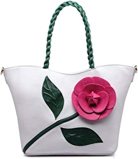 Trendy Ladies Vintage Rose Stereo Big Flower Bag Woven Handbag Crossbody Shoulder Bag Zgywmz (Color : White, Size : 32 * 15 * 29cm)