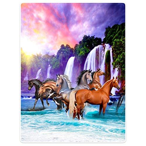 Violetpos Dick Decke Weich Wärme Gemütlich Flanell-Fleece Sofadecke Deckeldecke Schöne Falls der Himmel Pferde Ma Sunrise 150 x 200 cm