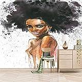 ZEISIX murales papel pintado para cocinas posters para pared/Creativo Africano chica graffiti/Aplicar para salones niños niñas juvenil habitacion bebe guardería dormitorio matrimonio cabeceros de