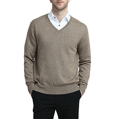Kallspin Men's Cashmere Wool Blend Relaxed Fit V-Neck Sweater Pullover (L, Coffee)