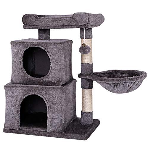 lionto by dibea Tiragraffi per gatto albero tiragraffi gatto gioco giocattolo gatti Altezza 70 cm Grigio scuro