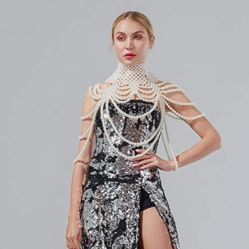 Collar De Cadena Corporal De Perlas para Mujeres - Tamaño Ajustable Cadenas De Hombro De Perlas Moda Colorfast Pearl Cuerpo Cadena Joyería,Blanco