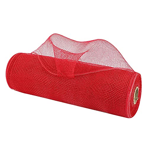 MEEDEE Red Deco Poly Mesh Ribbon Thick Ribbon for Christmas Tree Mesh Rolls 10 inch for Patriotic Float Decorations Wreaths Ribbon Mesh Red Swags Bows Crafts Home Party Decoration ( 30 feet )
