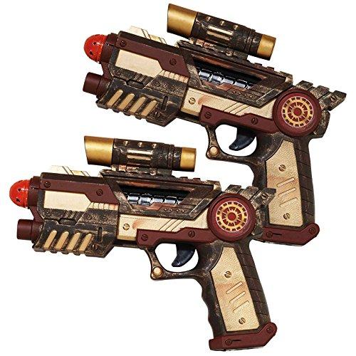 Bronze and Brown Gun Rustic Industrial Futuristic design Key Steampunk item Gun measures: 20.5cm x 16.5cm Contents: 2x Plastic Gun's