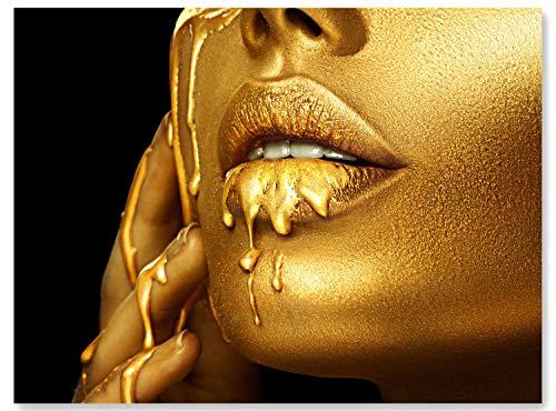 wandmotiv24 Leinwand-Bild Gold Collection, Größe 80x60cm, Querformat, Frau mit Goldener Farbe, Top-Model, Makeup, Glitzer, Glitter, Tropfen, Fotografie, Wand-Bilder, Dekoration Wohnung modern M0159