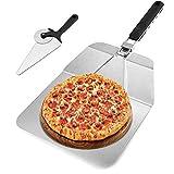 Pizza Accessori, Parkarma Pala per Pizza 10×12 Pollici Alluminio Pala di Trasferimento Manico in Legno con Manico Pieghevole Pizza Paddle Paletta per Pizza per la Pizza (Nero)