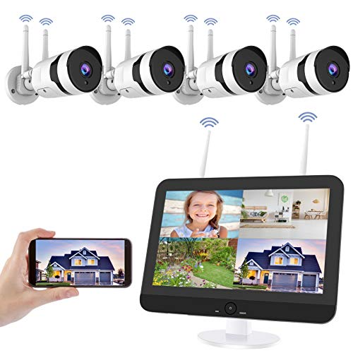 Wireless Security Camera System with 12 inch LCD Monitor, HJSHI 1080P 8CH NVR 4Pcs Outdoor Indoor WiFi Surveillance Cameras with App Remote, Night Vision, Motion Detection, Use Wired Power, No HDD