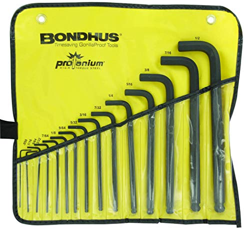 Bondhus 10935 0.050-1/2 Ball End L-Wrenches in Vinyl Pouch, Set of 15