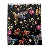 Duschvorhang von Jstel, dekorativer Duschvorhang mit Kolibri- & Tropenblumen-Motivdruck, 100prozent Polyester, ca. 150 cmx 180cm