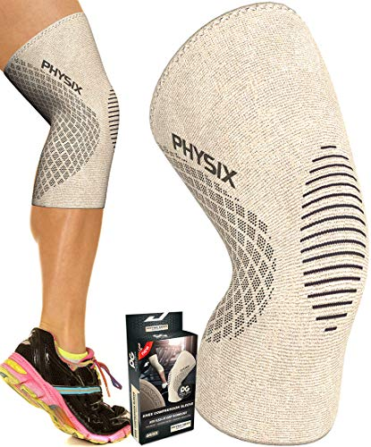 Physix Gear Knee Support Brace  Premium Recovery amp Compression Sleeve for Meniscus Tear ACL MCL Running amp Arthritis  Best Neoprene Stabilizer Wrap for Crossfit Squats amp Workouts Single Beige S