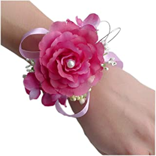 Arlai Wrist Corsage Wristband Roses Wrist Corsage for Prom, Party, Wedding Rose Red