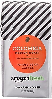AmazonFresh Colombia Whole Bean Coffee, Medium Roast, 12 Ounce